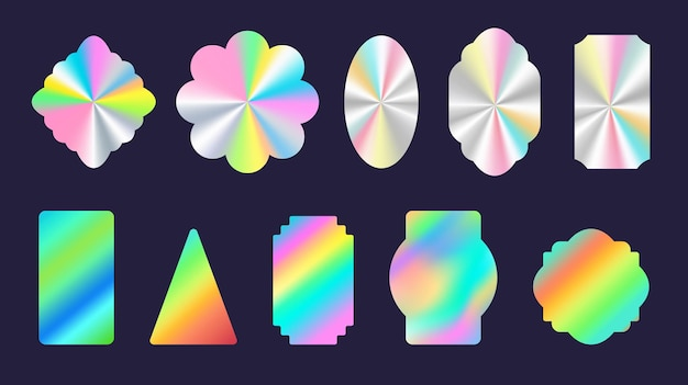 Srebrne naklejki holograficzne z błyszczącej folii geometryczne kształty. oficjalna etykieta i pieczęć z tęczowym hologramem produktu. zestaw wektorów certyfikacji jakości. ilustracja błyszczącej folii, holograficzny znak gradientu