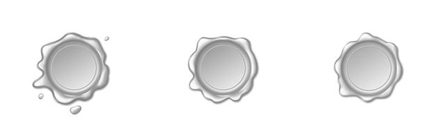 Srebrne pieczęcie woskowe na białym tle. pieczątki retro, ochrona i certyfikacja, gwarancja i znak jakości. ilustracja wektorowa rocznika