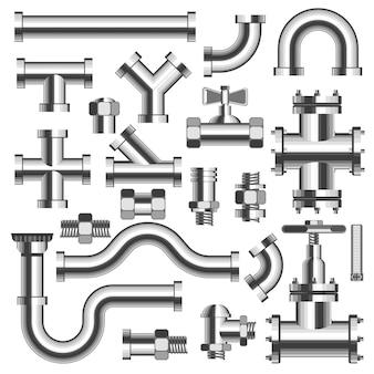 Srebrne rury i szczegóły rurociągu z zestawem dźwigów