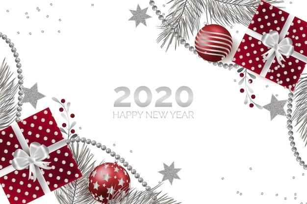 Srebrne tło nowego roku 2020