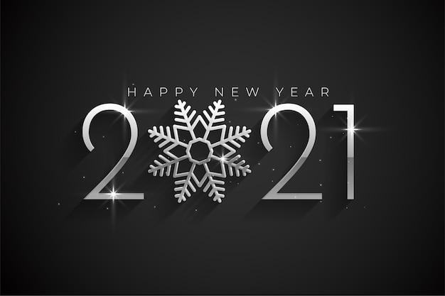 Srebrne tło szczęśliwego nowego roku 2021 z płatka śniegu
