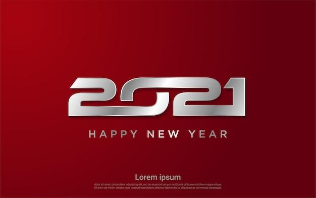 Srebrne tło szczęśliwego nowego roku 2021
