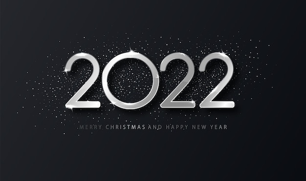 Srebrny 2022 szczęśliwego nowego roku eleganckie tło. szablon świąteczny dla karty projektu, baner.