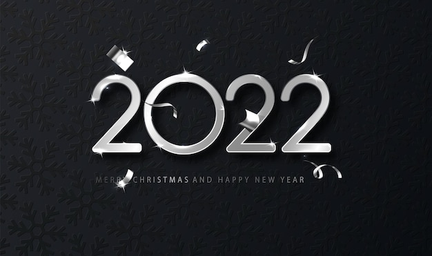 Srebrny 2022 szczęśliwego nowego roku z spadającym konfetti na ciemnym tle. szablon świąteczny na projekt karty, baner