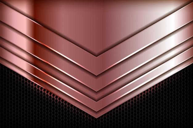 Srebrny brązowy strzałka streszczenie wymiar na czarny sześciokąt tekstura tło. realistyczne tekstury nakładających się warstw z dekoracją elementu świetlnego.
