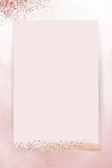 Srebrny brokat na różowym wektorze ramki