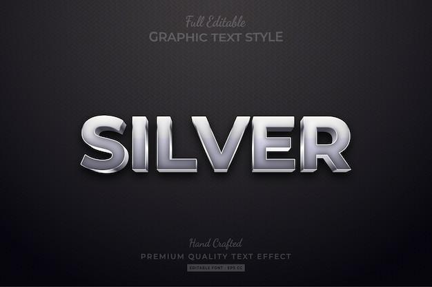 Srebrny edytowalny niestandardowy efekt stylu tekstu premium