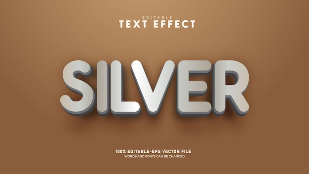 Srebrny edytowalny szablon 3d efekt tekstowy wektor premium