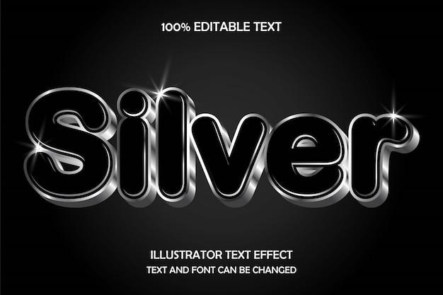 Srebrny, edytowalny tekst 3d efekt nowoczesnego stylu metalowego cienia