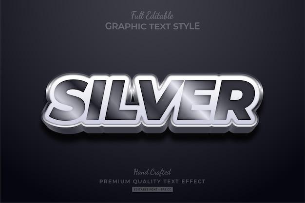 Srebrny efekt edytowalnego stylu tekstu premium