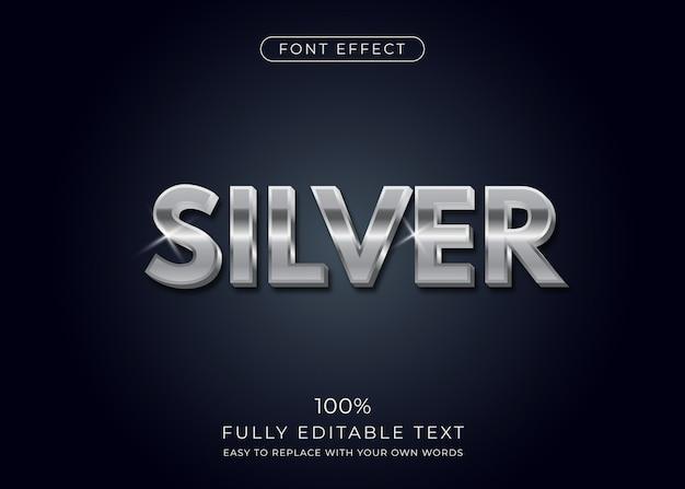 Srebrny efekt tekstowy. styl czcionki