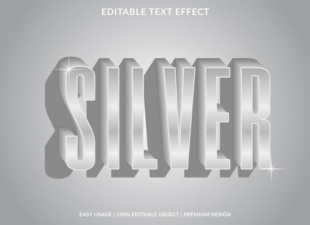 Srebrny efekt tekstowy szablon ze srebrnym