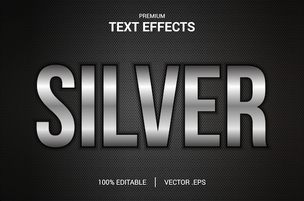 Srebrny efekt tekstowy, ustaw elegancki srebrny efekt tekstowy, efekt edytowalnej czcionki w srebrnym stylu tekstowym