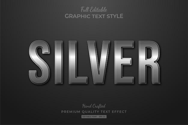 Srebrny elegancki styl czcionki efektu edytowalnego tekstu