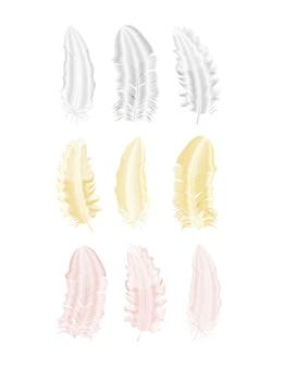 Srebrny i złoty brokat pióra. elementy stylu boho, szablon tatuaż.