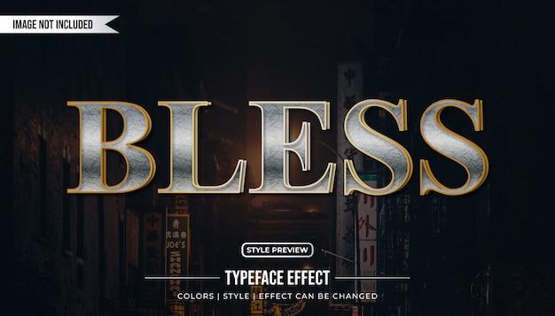 Srebrny i złoty efekt tekstowy w eleganckim stylu
