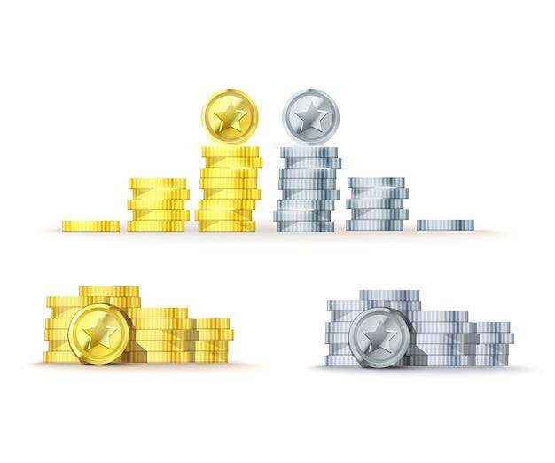 Srebrny i złoty stos monet i monety z gwiazdą w widoku z góry od mniejszych do większych. stos ilustracji