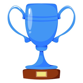 Srebrny kielich w kolorze niebieskim nagroda za zwycięstwo ilustracja wektorowa w stylu kreskówki