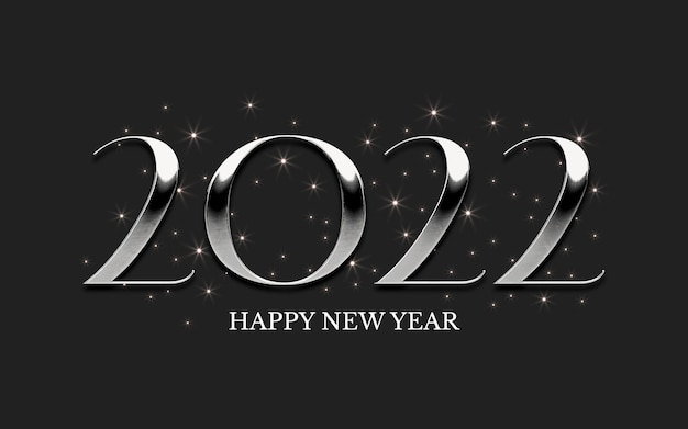 Srebrny klasyczny napis 2022 z gwiazdami