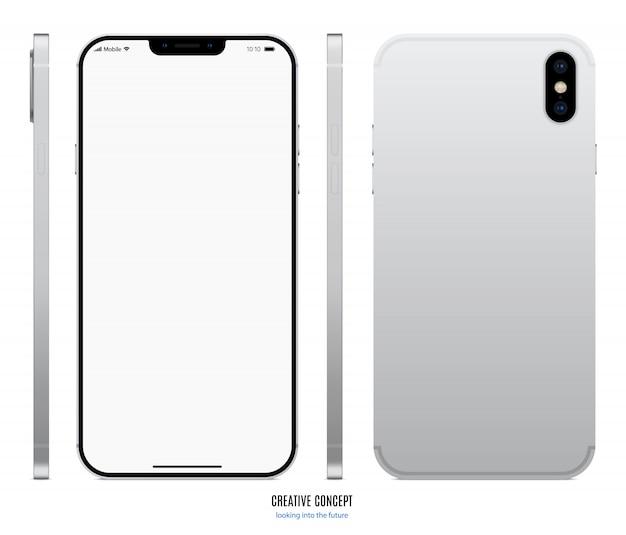 Srebrny kolor smartfona z pustym ekranem dotykowym z przodu, tyłu i boku na białym tle.