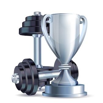 Srebrny kubek z metalowymi realistycznymi hantlami. symbol mistrza fitness.