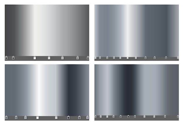 Srebrny luksusowy duży zestaw prostego gradientu. srebrna metaliczna gładka folia.