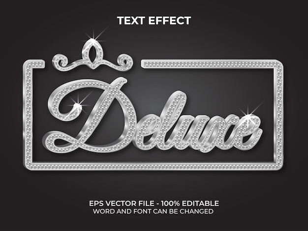Srebrny luksusowy styl efektu tekstowego edytowalny efekt tekstowy z motywem wzoru diamentowego