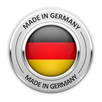 Srebrny medal made in germany z flagą