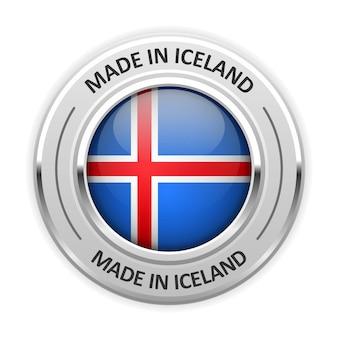 Srebrny medal made in island z flagą
