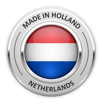 Srebrny medal made in netherlands z flagą