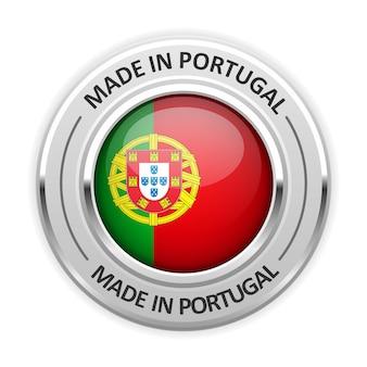 Srebrny medal made in portugal z flagą
