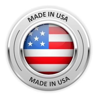 Srebrny medal made in usa z flagą