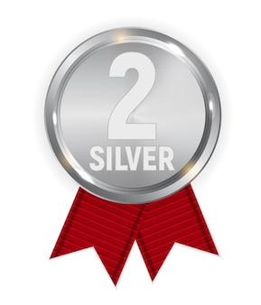 Srebrny medal mistrza z czerwoną wstążką. ikona znak drugie miejsce na białym tle. ilustracja wektorowa eps10