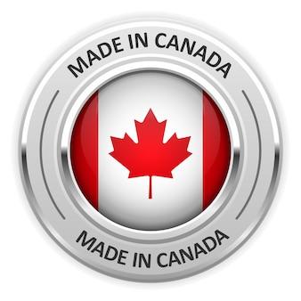 Srebrny medal wyprodukowano w kanadzie z flagą
