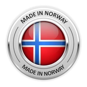 Srebrny medal wyprodukowano w norwegii z flagą