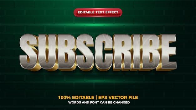 Srebrny metal subskrybuje marmurowy efekt tekstowy 3d editbale