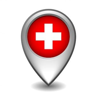 Srebrny metalowy wskaźnik mapy z flagą szwajcarii. na białym tle