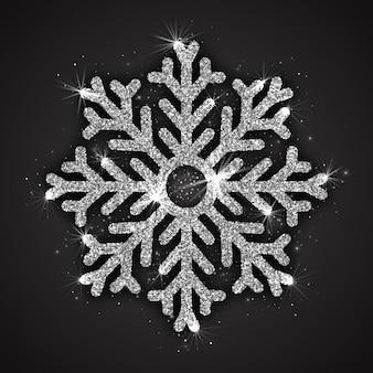 Srebrny musujący płatek śniegu z błyszczącą teksturą brokatu