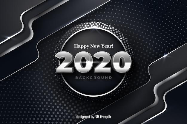 Srebrny nowy rok 2020 na metalicznym tle