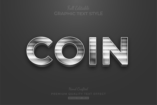 Srebrny pasek elegancki styl czcionki z efektem edycji tekstu