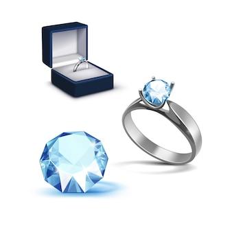 Srebrny pierścionek zaręczynowy jasnoniebieski błyszczący przezroczysty diament pudełko z biżuterią