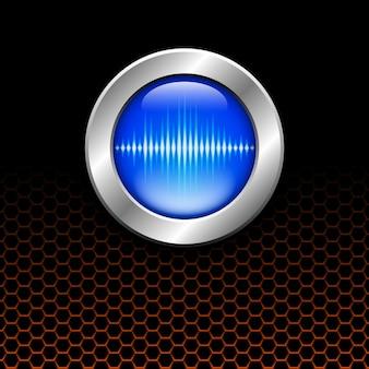 Srebrny przycisk z niebieskim znakiem fali dźwiękowej na pomarańczowej siatce sześciokątnej