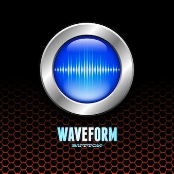 Srebrny przycisk ze znakiem fali dźwiękowej