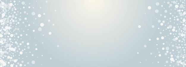 Srebrny snowstorm wektor panoramiczne przezroczyste tło. projekt konfetti szary połysk. minimalny wzór gwiazdek. karta płatków xmas.