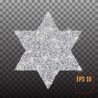 Srebrny symbol gwiazdy dawida na przezroczystym tle