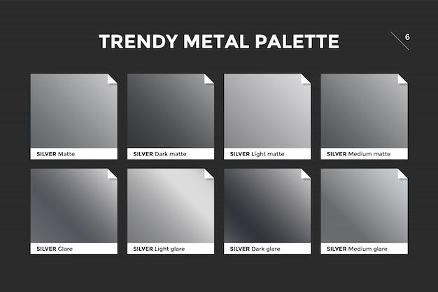 Srebrny szablon gradientu, ikona wektor