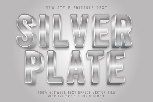 Srebrny talerz edytowalny efekt tekstowy wytłoczony luksusowy styl
