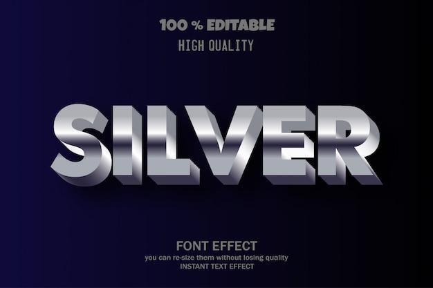 Srebrny tekst, edytowalny efekt czcionki