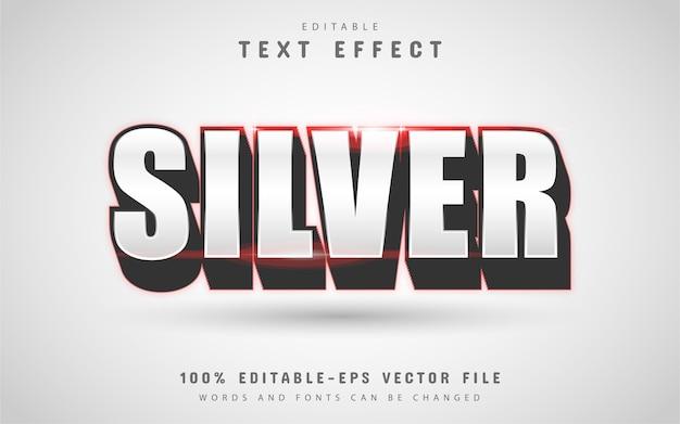Srebrny tekst, edytowalny efekt tekstowy