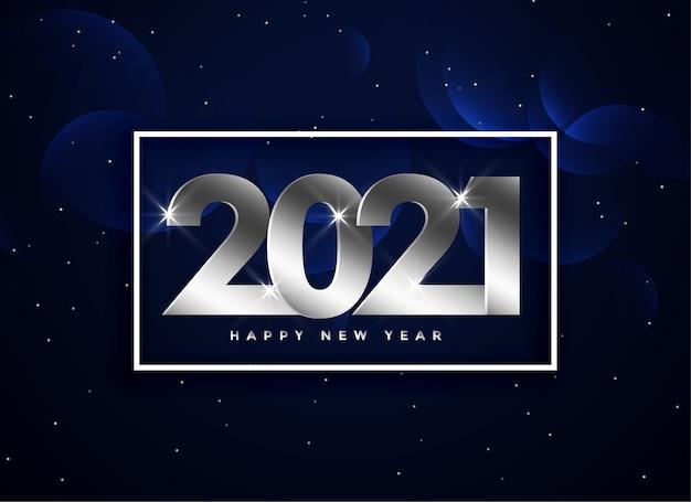 Srebrny tekst szczęśliwego nowego roku 2021 na ciemnoniebieskim tle